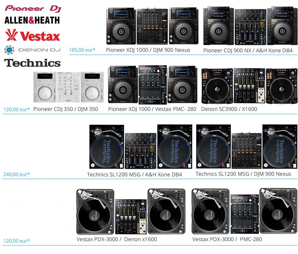 Aluguer Sonika Equipamento DJ Vestax Denondj Technics Pionner